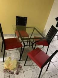 Mesa vidro 4 cadeira