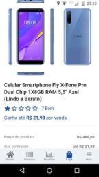 Celular smartphone Fly X-fone Pro dual chip2 1X8GB Ram 5,5 azul lindo e barato