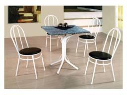 Promoção-Mesa Palace Quadrada Tampo Granito e 4 Cadeiras