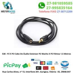 538 - P2 X P2 Cabo De Áudio Extensor P2 Macho X P2 Fêmea 1,5 Metros<br><br>