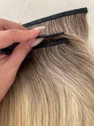 Mega hair loiro na micro emborrachada 3 telas
