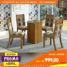 SUPER PROMO ABRIL / MESA COM VIDRO + 4 CADEIRAS ALMOFADADAS