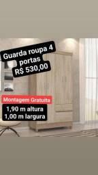 GUARDA ROUPA 4 PORTAS NOVO MONTAGEM GRATUITA