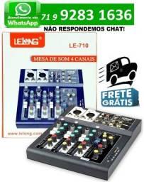 Mesa De Som Digital 4 Canais Bluetooth C/ Phantom Power Usb Mixer Mp3 Le-710