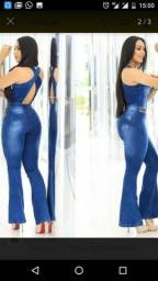 Macacao longo jeans