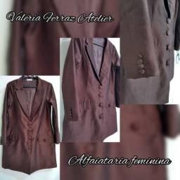 Blazer estilo vestido tecido importado cor marrom café semi novo