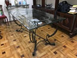 Mesa de jantar em vidro bisotado 10mm