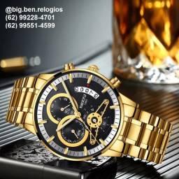 Relógio Nibosi Super Luxo com qualidade quartzo