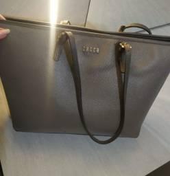 Bolsa sagga couro legítimo, cinza