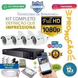 Super Promoção Kit 4 Câmeras Fullhd 12x de R$ 134,99 Sem Juros (Brinde Microfone Espião)