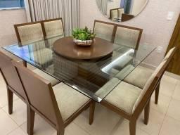 Mesa de Jantar com 8 cadeiras - tampo giratório