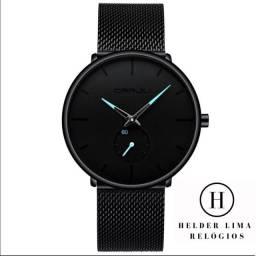 Relógio CRRJU masculino modelo 2022 em aço inoxidável, fino e discreto.
