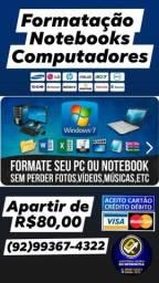Formatação de Notebooks e computadores.