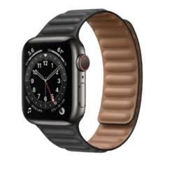 Apple Watch Customizado S6 40mm GPS + Celular Inox Graphite + Black Leather Link Band