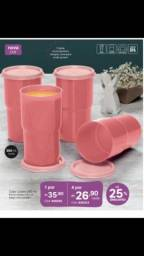 Tupperware kit 4 copos colors rosa