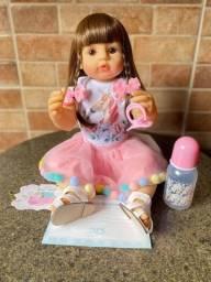 Linda Boneca bebê Reborn toda em Silicone Cabelão Nova (aceito cartão)