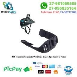299 - Promoção - Suporte Capacete Ventilado Gopro 1 2 3 3+ 4 5 6 7 8 Sportcam SJ Todas<br><br>