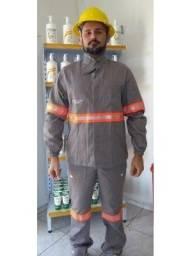 Conjunto Eletricista Nr 10 Uniforte FR Cinza Chumbo com Faixa Commanders