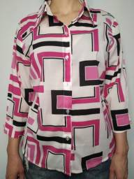 Camisa de botões geométrica