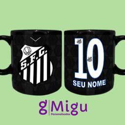 Caneca preta do Santos Caneca 100% preta do Santos personalizada / Xícara copo santos
