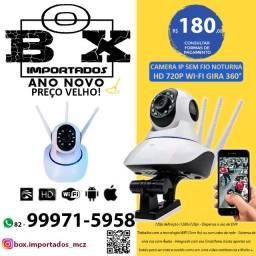 Camera Ip Sem Fio Noturna Hd 720p 1.3 Mp Wi-fi Gira 360°