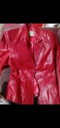 Jaqueta de couro vermelha