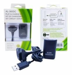 kit conjunto cabo carregador e bateria controle xbox 360 novo na emb. aceito cartão-pix