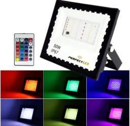 Refletor Holofote Iluminação Colorido RGB a prova D água com controle
