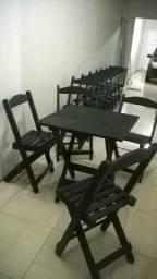 Kit mesa com 4 cadeiras na cor preto