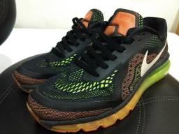 Tenis Nike Airmax 2014 Preto Laranja Verde Tam 41
