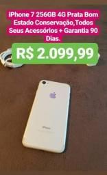Iphone 7 Prata 256GB Bom Estado,Todos Seus Acessórios+Garantia 90 Dias