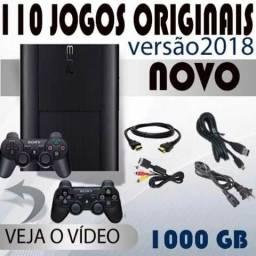 PS3 1000 GB + 3 controles + 110 jogos originais