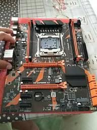 Placa mãe x99 com processador E52620 v3 e cpu cooler DR90 de 3 fãs e 6 retpaipes