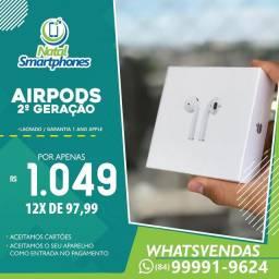 FONE APPLE SEM FIO ( AIRPODS 2 GERAÇÃO  ) 100% ORIGINAL LACRADO 1 ANO DE GARANTIA