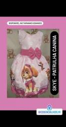 Vestido Temático Infantil Skye Patrulha Canina - 4 anos *modelo Luxo