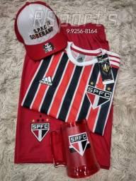 Kit presente dia dos Pais camisa bermuda boné e caneca do São Paulo