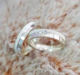 Par de Aliança de Prata de 950 de 6mm com diamantado