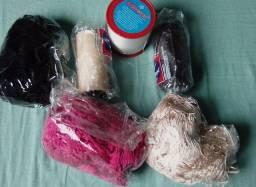 Sementes de açaí, tassel, nylon e cordões encerados