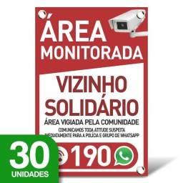Placa Vizinho Solidário - Whatsapp - 30 Unidades - 20x30cm