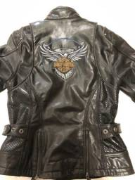 Jaqueta Vintage Feminina Em Couro Harley-davidson Tam P