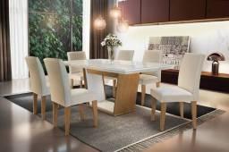 Mesa de Jantar Sofia 180cm Vidro Reto 180 Off White/Imbuia c/ 6 cadeiras