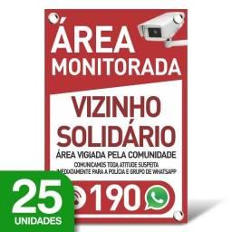 Placa Vizinho Solidário - Whatsapp - 25 Unidades - 20x30cm