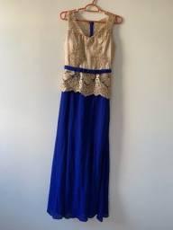 Vestido azul com dourado