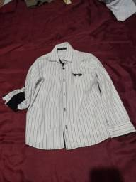 Camisa social branca listrada