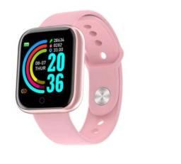Relógio Inteligente Y68 Smartwatch D20 Preto e Rosa