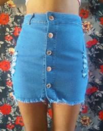 Saia e shorts jeans com lycra
