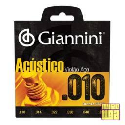 Encordoamento Giannini Violão Serie Acústico Aço 010 Bronze 65/35