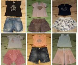 Lote / Kit Roupa Infantil Conjunto curto primavera verão menina