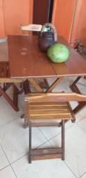 Jogo de mesa madeira 90x70
