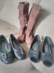 2 sapatos e uma bota e 1 jaqueta couro